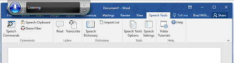 Speech Tools run inside Microsoft Word