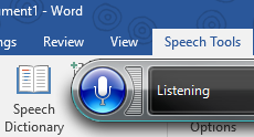 Speech Tools Add In for Microsoft Word uses the Shared Speech Recognizer