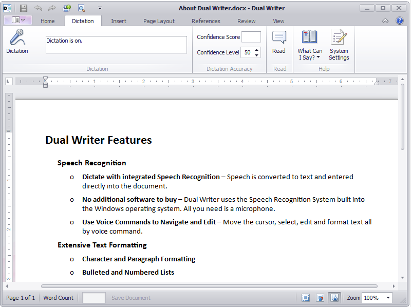 Dual Writer screen shot showing dictation features.