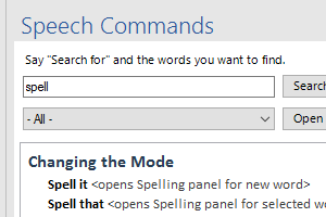See all of the Microsoft Word speech commands in a searchable list.