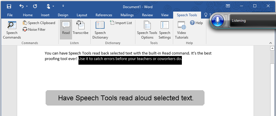 Have Speech Tools read selected text in Microsoft Word.
