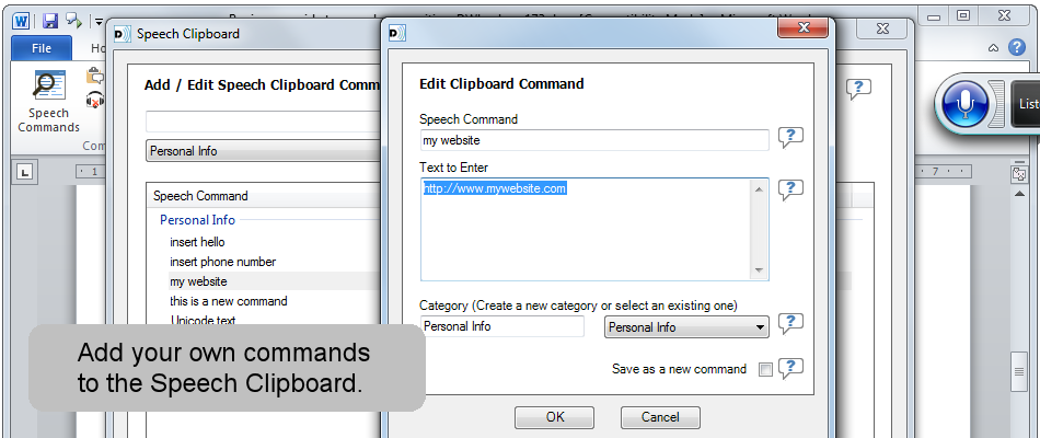 Add your own custom commands to the Speech Clipboard.